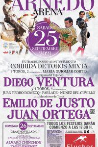 Ampliar información de Corrida de toros mixta. Diego Ventura, Emilio de Justo y Juan Ortega