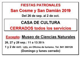 Ampliar información de Horario de la Casa de Cultura durante las Fiestas de San Cosme y San Damián 2019