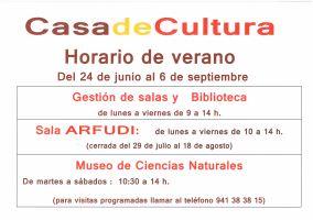 Ampliar información de HORARIO DE VERANO DE LA CASA DE CULTURA