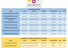 Ampliar información de Consulta la oferta formativa de las Cibertecas municipales para los meses de julio, septiembre y octubre de 2021.