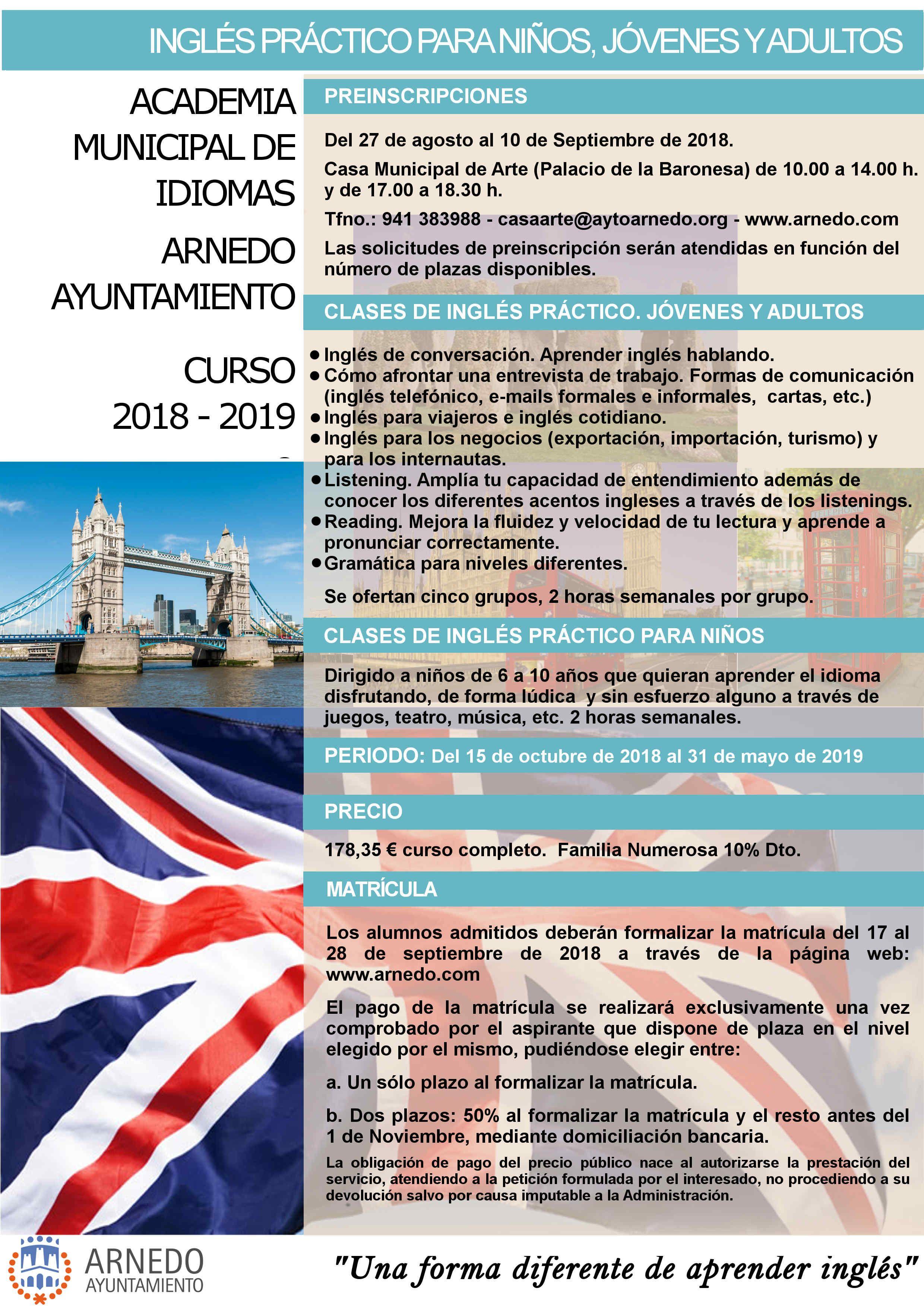Ayuntamiento De Arnedo Oferta Academia Mpal De Idiomas Curso 2018