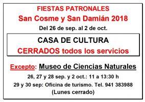 Ampliar información de Horario de la Casa de Cultura durante las Fiestas de San Cosme y San Damián 2018