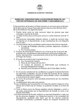 Bases Elección Reina de Fiestas San Cosme y San Damián 2012