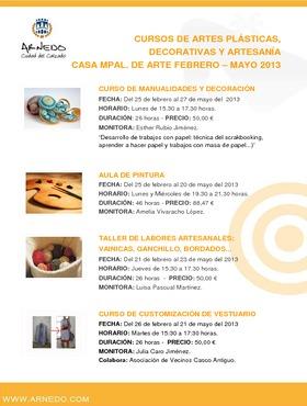 Cursos de artes plásticas, decorativas y artesanía, Casa Mpal. de Arte febrero-mayo 2013