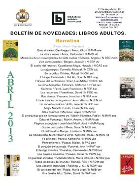 Novedades Biblioteca. Libros adultos abril 2013.