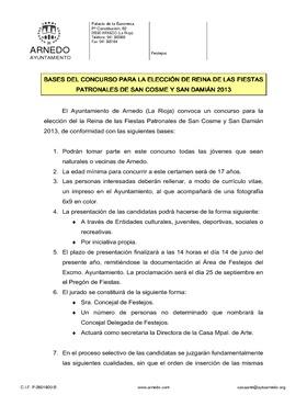 Bases elección Reina de las Fiestas Patronales San Cosme y San Damián 2013.