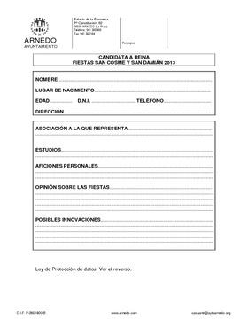 Solicitud de inscripción Reina de las Fiestas Patronales San Cosme y San Damián 2013.