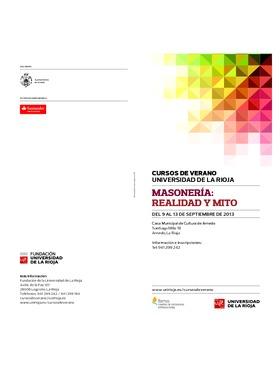 Programa de los Cursos de Verano 2013: Masonería: Realidad y Mito