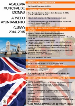 Academia Municipal de Idiomas de Arnedo. Oferta Educativa Curso 2014 - 2015