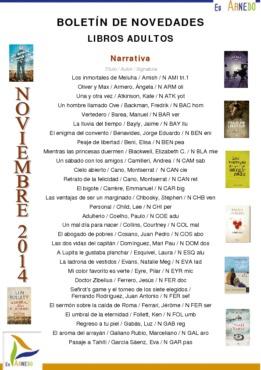 Novedades Biblioteca narrativa noviembre 2014