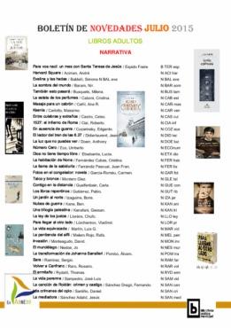 BIBLIOTECA Boletín novedades LIBROS ADULTOS julio 2015