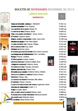 Biblioteca Municipal BOLETÍN NOVEDADES LIBROS ADULTOS diciembre 2015