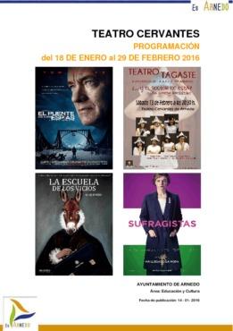 Programa Teatro Cervantes del 18 de enero al 29 de febrero del 2016