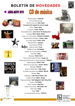 Biblioteca Pública Municipal boletín novedades música