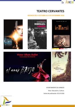 Programa Teatro del 6 de Octubre al 4 de Diciembre del 2016